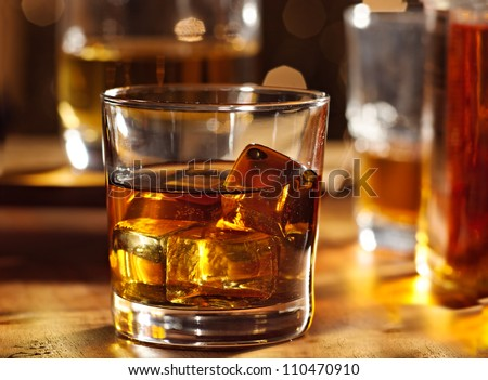 Highball whiskey glass at bar close up - stock photo