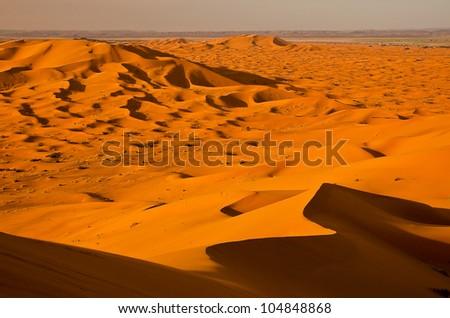 Highest dune of Erg Chebbi desert in Sahara, Morocco - stock photo