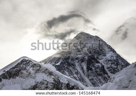 Highest mountain, Mt Everest (8850M) in the Himalaya, Nepal. - stock photo