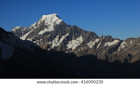 Highest mountain of the Southern Alps, New Zealand. Mount Cook. - stock photo