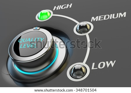 Highest quality assurance, high quality level guarantee, management and control service, web interface or app switch button - stock photo