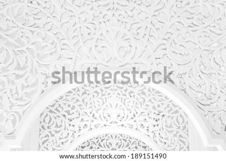 Highkey image of a beautiful intricate pattern at public mosque in Terengganu, Malaysia - stock photo