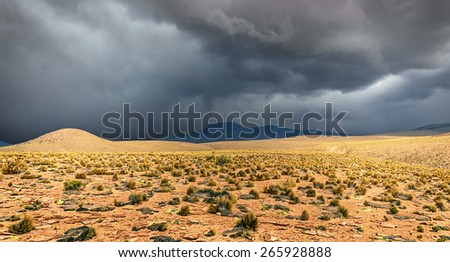 Highland desert plateau Altiplano in bad weather, Bolivia, Latin America - stock photo