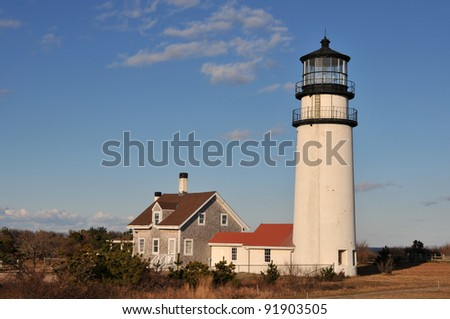 Highland light in Truro, Massachusetts, on a sunny January day