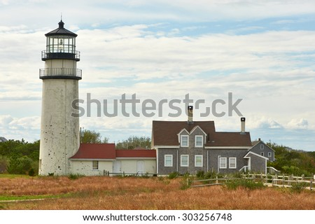 Highland Lighthouse, oldest and tallest on Cape Cod, Massachusetts, USA.  - stock photo