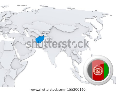 Highlighted Afghanistan on map of Asia with national flag - stock photo