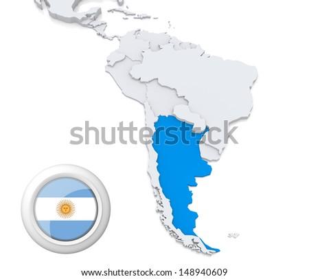 Highlighted argentina on map south america stock photo 148940609 highlighted argentina on map of south america with national flag gumiabroncs Images