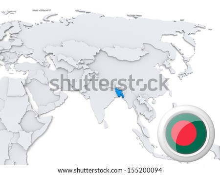 Highlighted Bangladesh on map of Asia with national flag - stock photo
