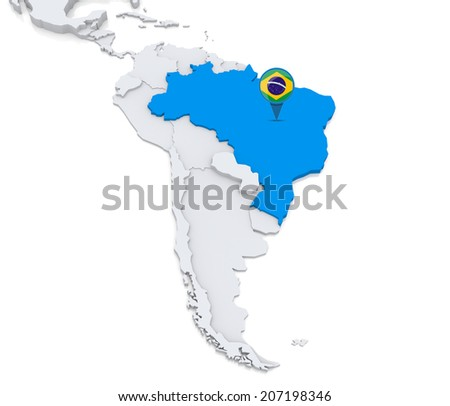 Highlighted Brazil On Map South America Stock Illustration - Brazil south america map