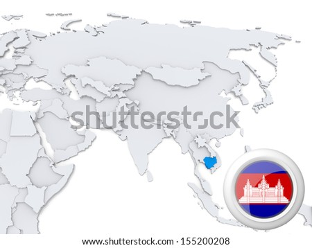 Highlighted Cambodia on map of Asia with national flag - stock photo
