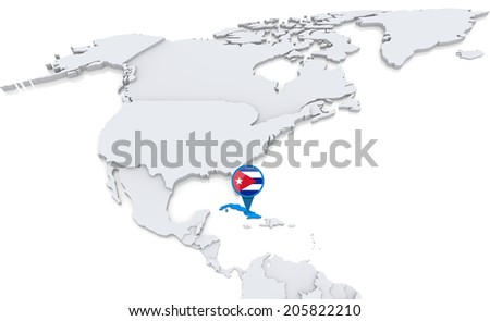 Highlighted Cuba On Map North America Stock Illustration - Cuba on map