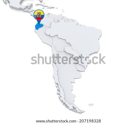 Highlighted Colombia On Map South America Stock Illustration - Ecuador map south america