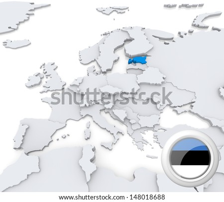 Highlighted Estonia on map of europe with national flag - stock photo
