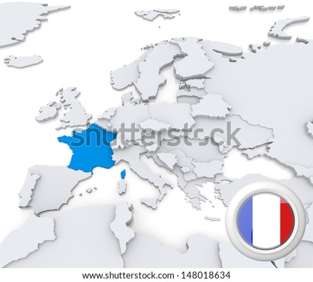 Highlighted France on map of europe with national flag - stock photo