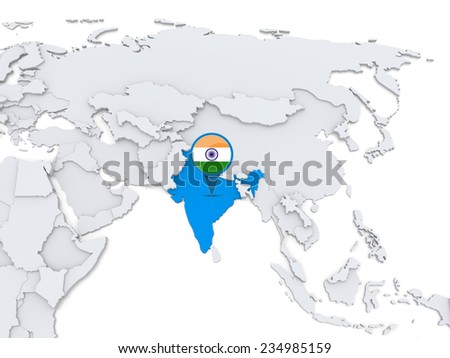 Highlighted india on map asia national stock illustration 234985159 highlighted india on map of asia with national flag gumiabroncs Choice Image