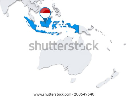 Highlighted Indonesia on map of Oceania with national flag