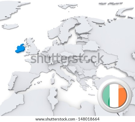 Highlighted Ireland on map of europe with national flag - stock photo
