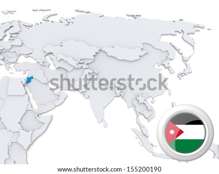 Highlighted Jordan on map of Asia with national flag - stock photo