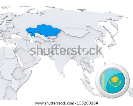Highlighted Kazakhstan on map of Asia with national flag - stock photo