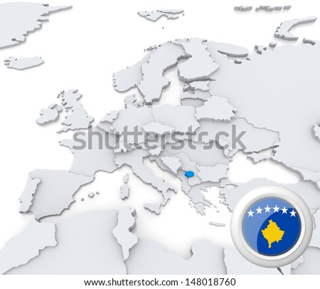 Highlighted Kosovo on map of europe with national flag - stock photo