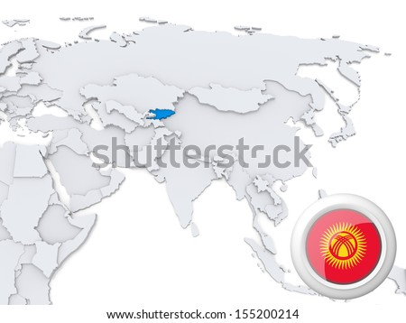 Highlighted Kyrgyzstan on map of Asia with national flag - stock photo