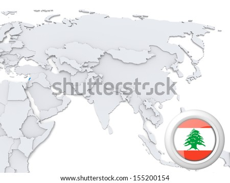 Highlighted Lebanon on map of Asia with national flag - stock photo