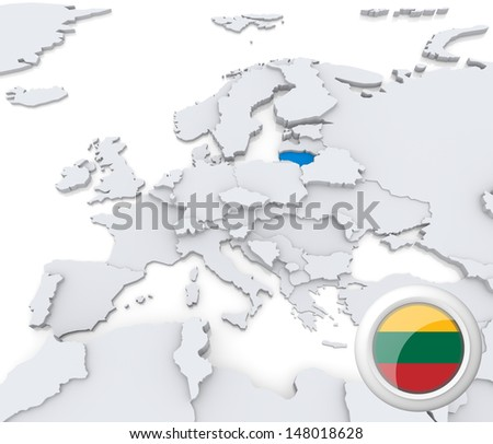 Highlighted Lithuania on map of europe with national flag - stock photo
