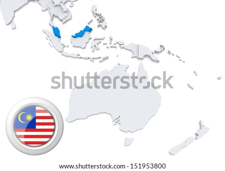 Highlighted Malaysia on map of Australia and oceania with national flag - stock photo