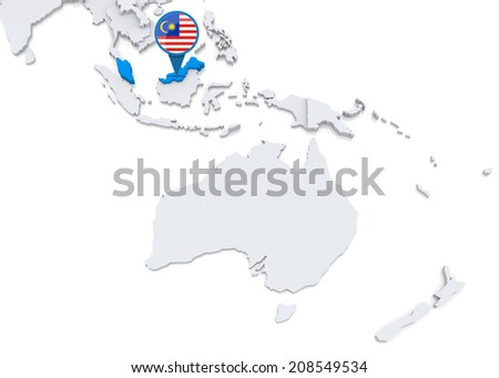 Highlighted Malaysia on map of Oceania with national flag