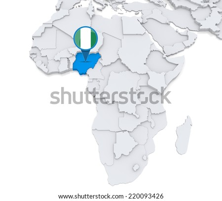 Highlighted Nigeria On Map Africa National Stock Illustration ...