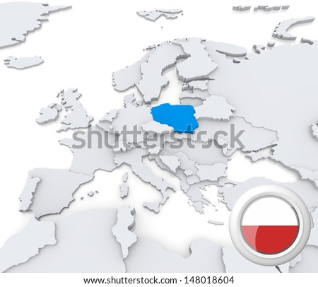 Highlighted Poland on map of europe with national flag - stock photo
