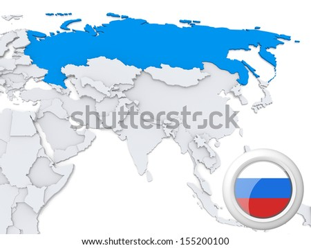 Highlighted Russia on map of Asia with national flag - stock photo