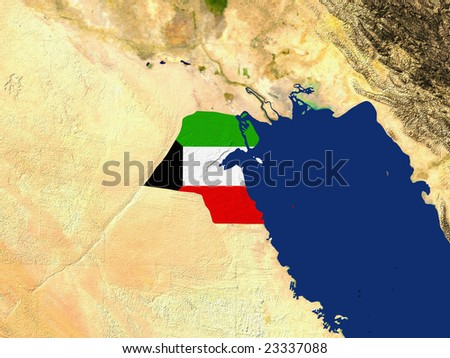 Highlighted Satellite Image Of Kuwait With The Countries Flag Covering It