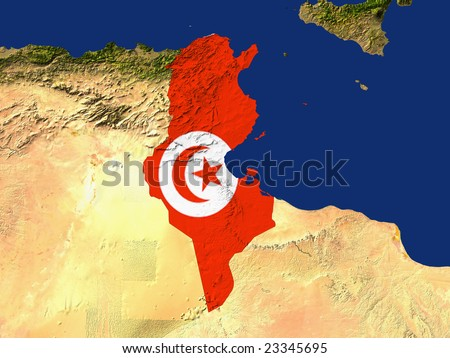 Highlighted Satellite Image Of Tunisia With The Countries Flag Covering It
