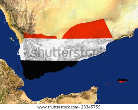 Highlighted Satellite Image Of Yemen With The Regions Flag Covering It - stock photo