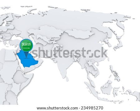 Highlighted Saudi Arabia on map of Asia with national flag - stock photo
