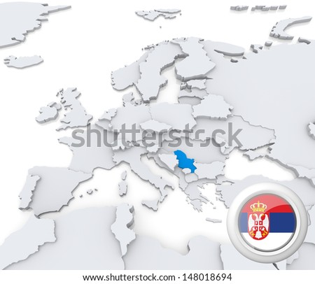 Highlighted Serbia on map of europe with national flag - stock photo