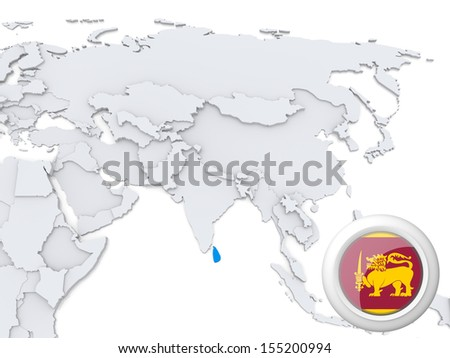 Highlighted Sri lanka on map of Asia with national flag - stock photo