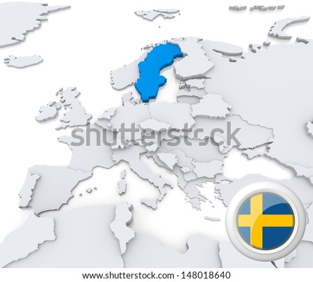 Highlighted Sweden on map of europe with national flag - stock photo