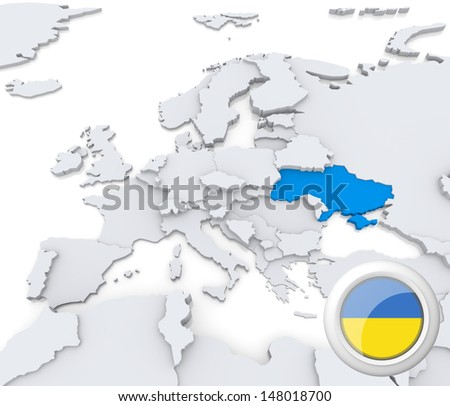 Highlighted Ukraine on map of europe with national flag - stock photo