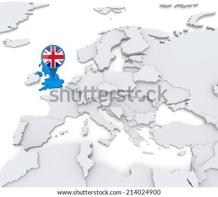 D Render Map United Kingdom British Stock Illustration - United kingdom europe map