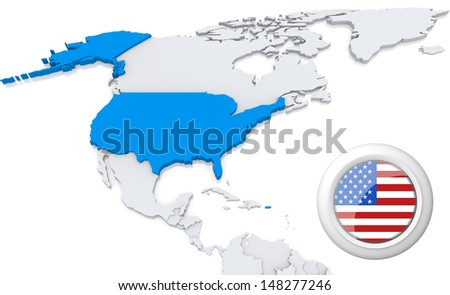 Highlighted usa on map north america stock illustration 148277246 highlighted usa on map of north america with national flag gumiabroncs Image collections