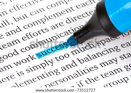 Highlighter and word success - concept business background - stock photo