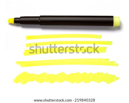 Highlighter Yellow Pen and Doodles  - stock photo