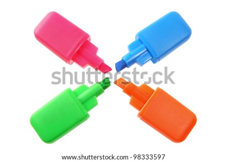 Highlighters on White Background