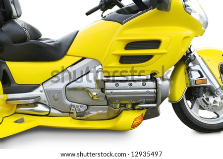 Highly customized motorcycle side view with clipping path