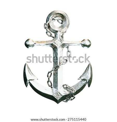 Highly detailed aluminum anchor isolated on white background. - stock photo