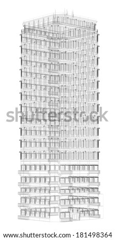 Highly detailed building. Isolated wire-frame render on a white background - stock photo