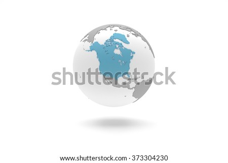 Highly detailed 3D planet Earth globe with grey continents in relief and white oceans, centered in blue North America with Greenland, without Mexico