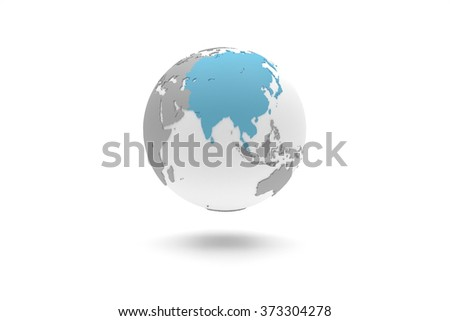 Highly detailed 3D planet Earth globe with grey continents in relief and white oceans, centered in blue Asia without middle East - stock photo